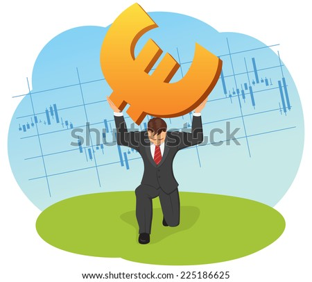 Businessman raises a euro sign on the background of the financial chart. - stock vector