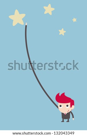 businessman reaching star. - stock vector