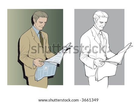 Businessman reading a newspaper. Vector EPS-File.