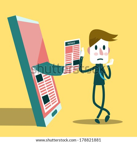 Businessman reading business news from his smart phone. Business and technology concept. vector - stock vector