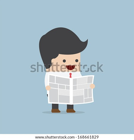 Businessman reading newspaper, VECTOR, EPS10 - stock vector