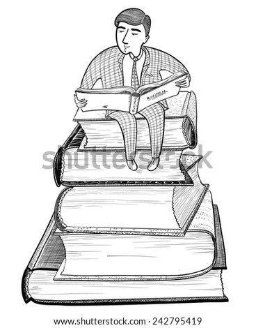 Businessman reading on the mountain of books, doodle version - stock vector