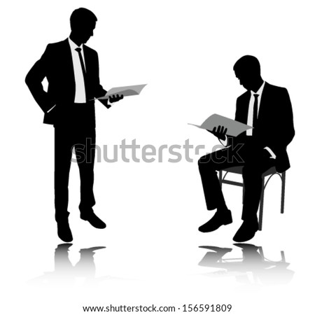 businessman reading report silhouettes - stock vector