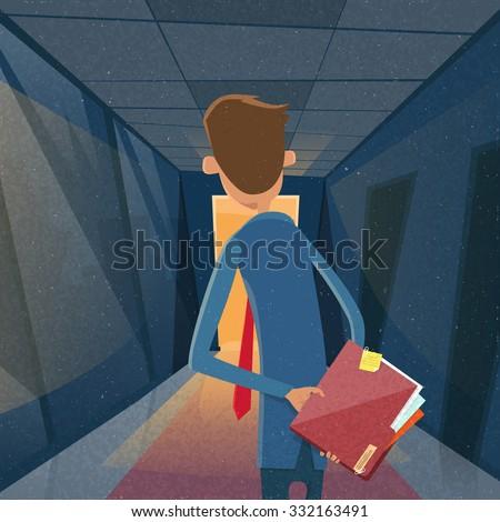 Businessman Rear View in Office Hold Red Folder Document Concept Hide Secret Information Flat Vector Illustration - stock vector
