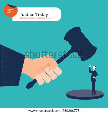 Businessman rebelling against the law. Vector illustration Eps10 file. Global colors. Text and Texture in separate layers. - stock vector