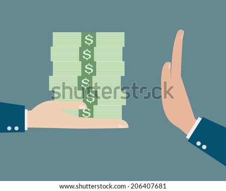 Businessman refusing the offered bribe vector - stock vector