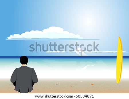 businessman rest on the beach - stock vector