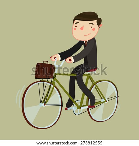 businessman riding bicycle. bike to work. vector illustration - stock vector