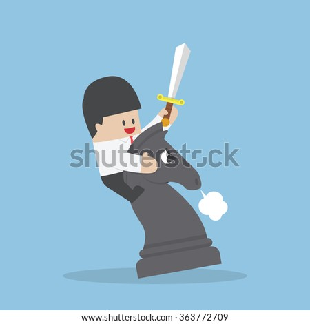 Businessman riding chess horse and fighting, Business competition, Leadership, Strategy concept - stock vector