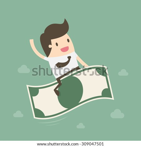 Businessman riding flying money. Business concept cartoon illustration
