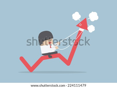 Businessman riding on angry stock market graph, VECTOR, EPS10 - stock vector
