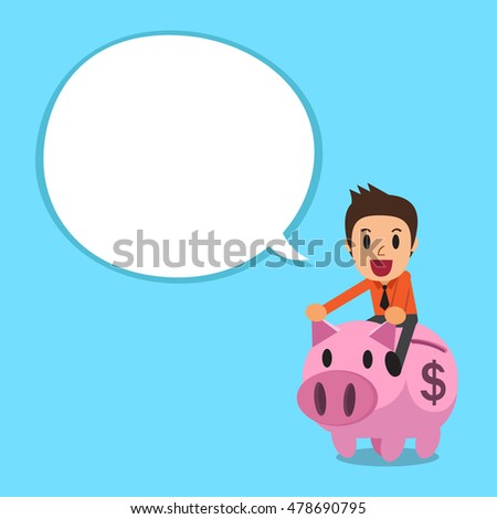 Businessman riding pink piggy bank with white speech bubble