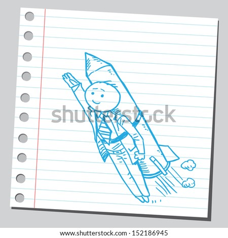 Businessman rocket - stock vector