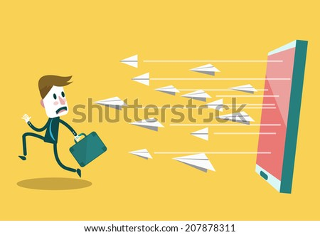 Businessman run away from e-mail attract. Digital marketing and Social networking conceptual. flat design.illustration vector - stock vector