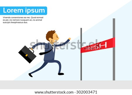 Businessman Run Cross Finish Line Flat Vector Illustration - stock vector