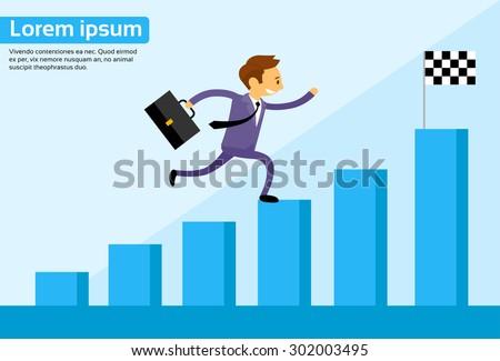 Businessman Run Financial Bar Graph Cartoon Business Man Climbing Growth Chart Flat Vector Illustration - stock vector