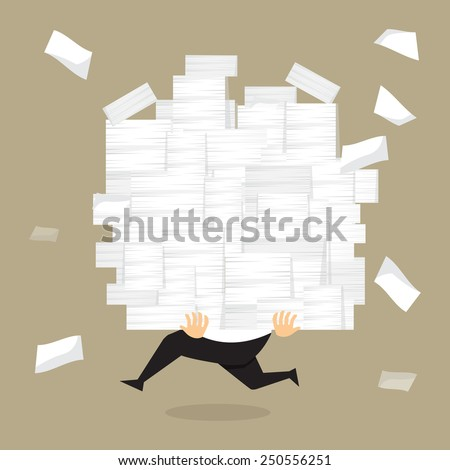 Businessman run holding a lot of documents in his hands.vector - stock vector