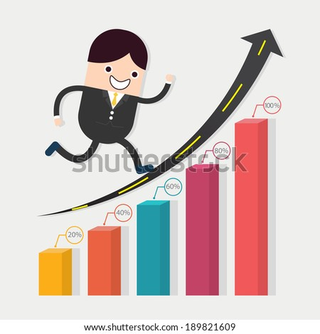 Businessman run in a growth with road and chart  - stock vector