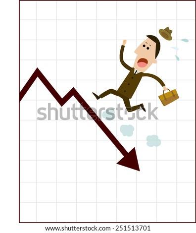 Businessman run on the graph fall. - stock vector