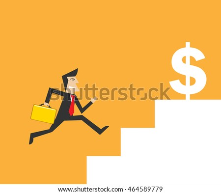 businessman run to currency symbol