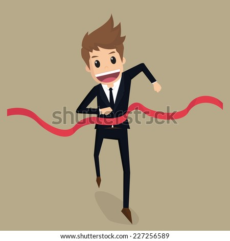 Businessman run to the finish line - stock vector