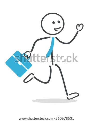 Businessman run with briefcase and tie  - stock vector