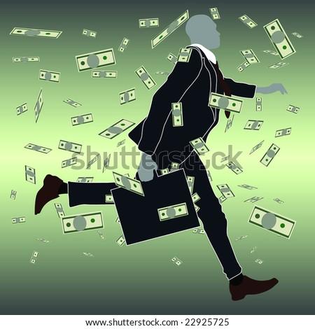 businessman running - stock vector