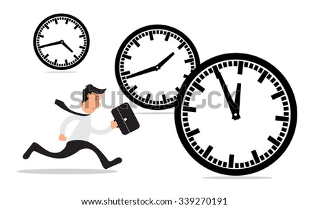 Businessman running a race against time, time management concept, vector illustration