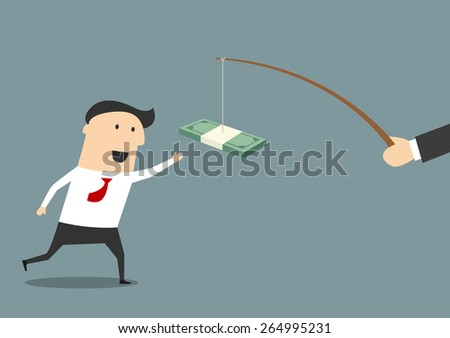 Businessman running after a bribe or backhander with money trailing from a fishing rod in front of him in a graft and corruption concept, vector illustration - stock vector