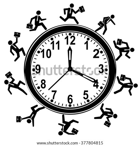 businessman running around clock - stock vector