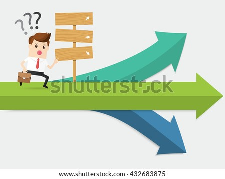 businessman running at confused crossroad. where next pathway - stock vector