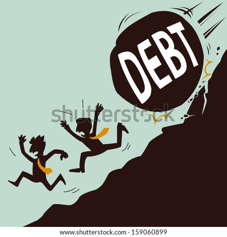 Businessman running away from big stone with message 'debt' that is rolling down to them. Abstract background on business concept on debt that threatening big problem to businessman.   - stock vector