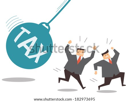 Businessman running away from huge pendulum with message 'tax', financial crisis in tax burden concept.  - stock vector
