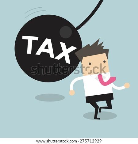 Businessman running away from huge pendulum with message 'tax', financial crisis in tax burden concept - stock vector