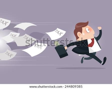 Businessman running away from tax - stock vector