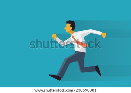 Businessman running forward. Abstract vector illustration character in flat design with long shadow.  - stock vector