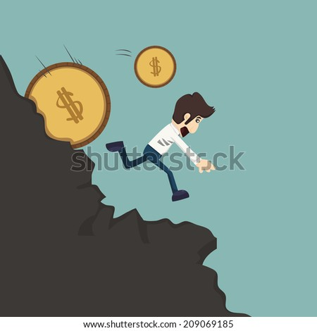 Businessman running from coins, eps10 vector format - stock vector