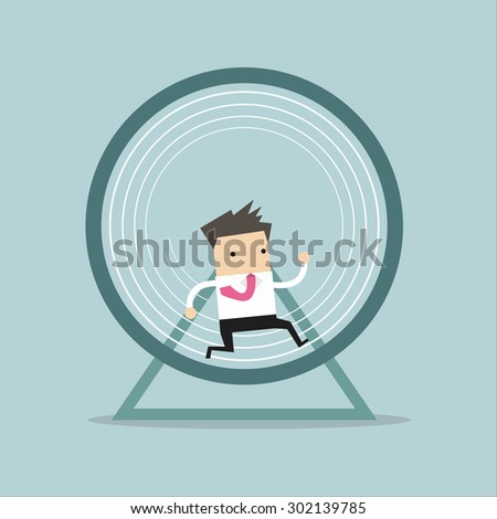 Businessman running in a hamster wheel - stock vector