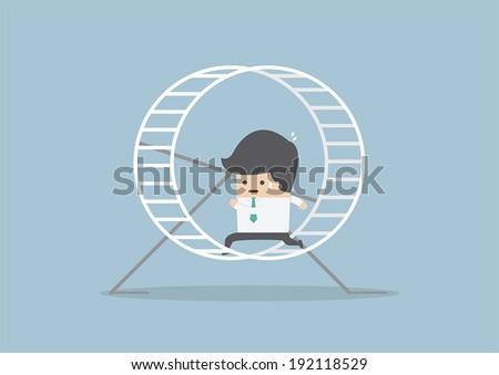 Businessman running in a hamster wheel, VECTOR, EPS10 - stock vector
