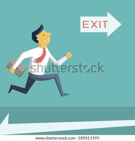 Businessman running in a hurry, looking at arrow with exit sign, and going to open door. Business concept in safety, urgency, security, or emergency.  - stock vector