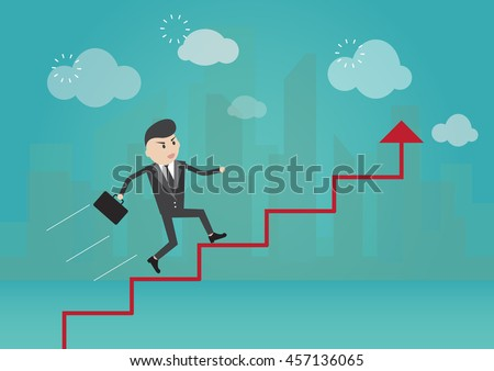 Businessman running on arrow graph to success