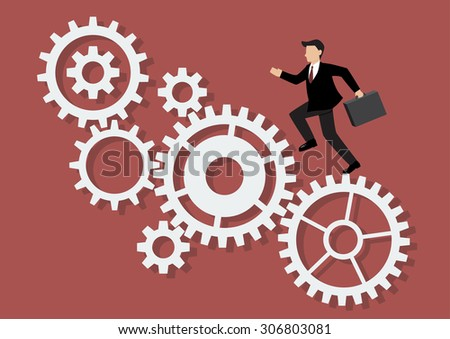 Businessman running on mechanism system. Business Concept
