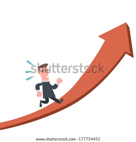 Businessman Running on The Arrow
