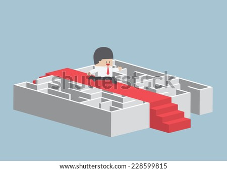 Businessman running on the red carpet over the maze, VECTOR, EPS10 - stock vector