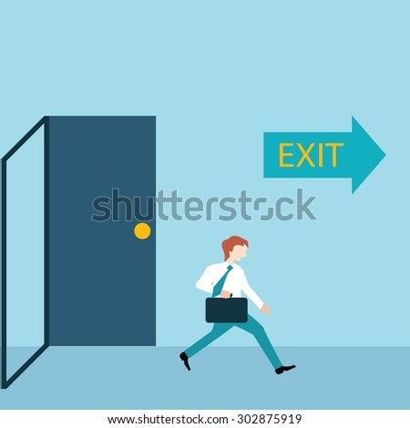 Businessman running out of a door with exit sign, Business concept in very busy businesspeople. - stock vector