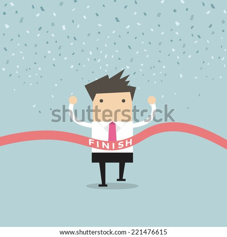 Businessman running success at the finish line vector - stock vector