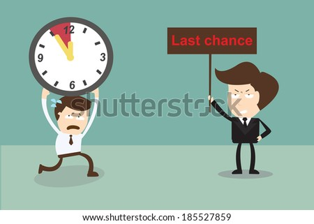 Businessman running to last chance ,Deadline  - stock vector