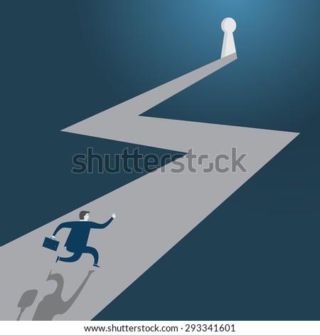 Businessman running to the open door - Vector - stock vector