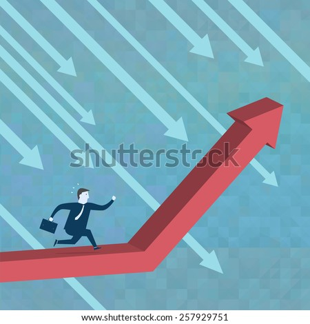 Businessman running to the top of the Charts - Vector