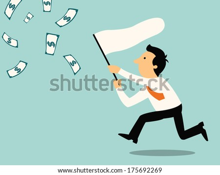 Businessman running with butterfly net chasing money which is flying in the air. Finance business concept.  - stock vector